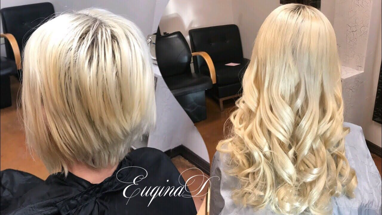 Short To Long Temporary Microlink Extension On Blonde Short Blonde Microlink Exten In 2020 Hair Extensions For Short Hair Tape In Hair Extensions Short Thin Hair