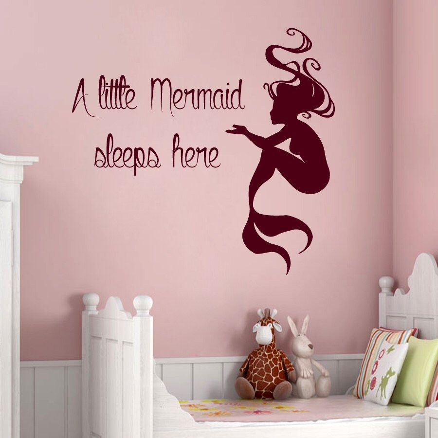 Mermaid Wall Decals Quote A Little Mermaid Sleeps Here Vinyl Decal Sticker  Home Interior Design Baby