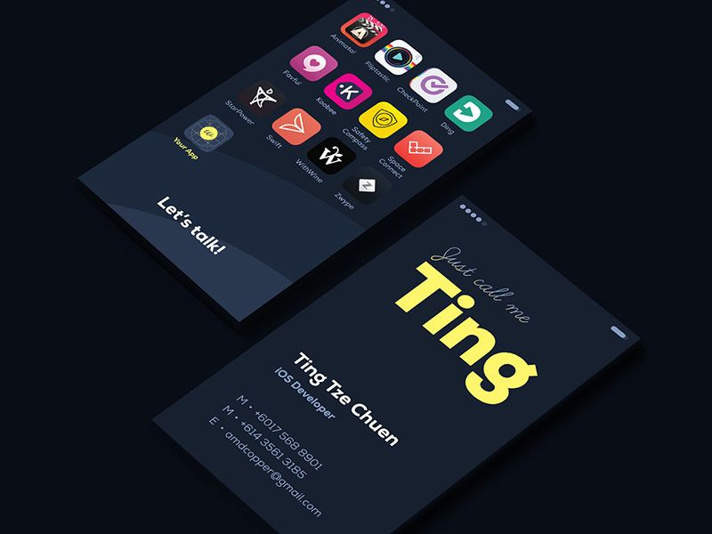 App business card design pinterest business cards ios app business card colourmoves Choice Image