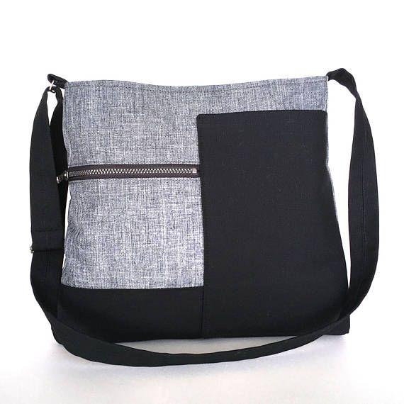 a1607c45ab This beautiful shoulder bag made from grey felt backed linen fabric and  black canvas. This light weight bag is big enough for all your daily  essentials