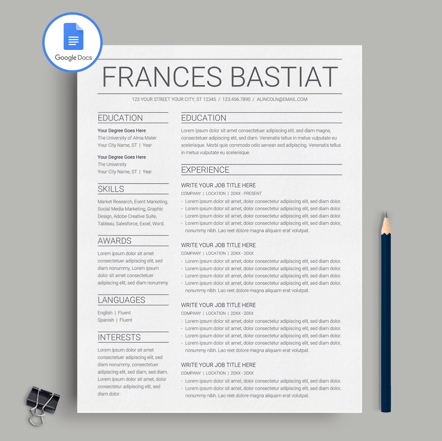 Frances Bastiat Google Docs Resume Template Cv Template
