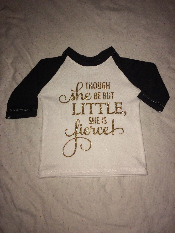 Baby she is fierce shirt, gold letters, sparkle, toddler shirt, baseball style shirt, gold, raglan shirt by ThePrickleePineapple on Etsy https://www.etsy.com/listing/226903969/baby-she-is-fierce-shirt-gold-letters