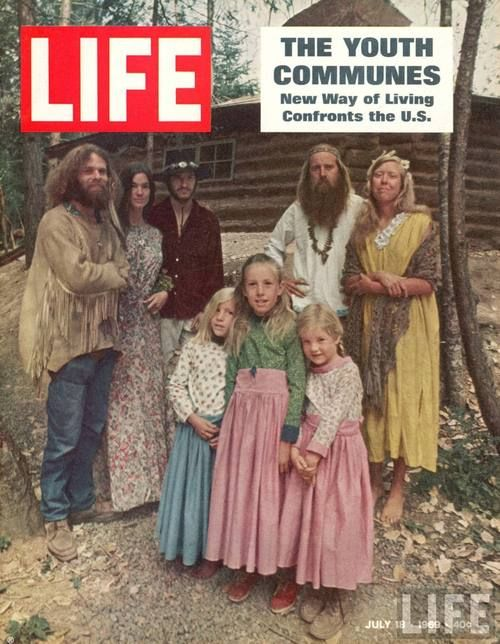 hippies living in communes;  Need to bring back the communes now.  An answer to the economic crisis.