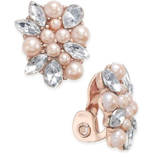 Charter Club Rose Gold-Tone Crystal & Pink Imitation Pearl Clip-On... ($12) ❤ liked on Polyvore featuring jewelry, earrings, rose gold, clear earrings, button jewelry, fake pearl earrings, faux pearl earrings and pink crystal jewelry