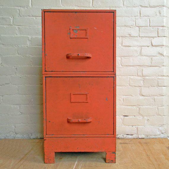 C Painted Metal File Cabinet Art Deco Studio Storage Business Filing Orange Brightly Drawers