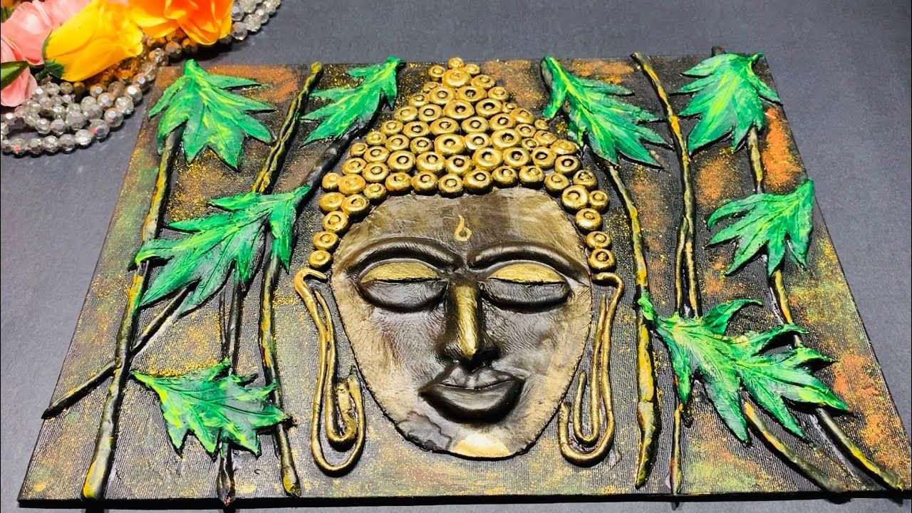 Diy Clay Mural Buddha On Canvas Step By Step Tutorial For Beginners Budha Painting Diy Clay Texture Painting