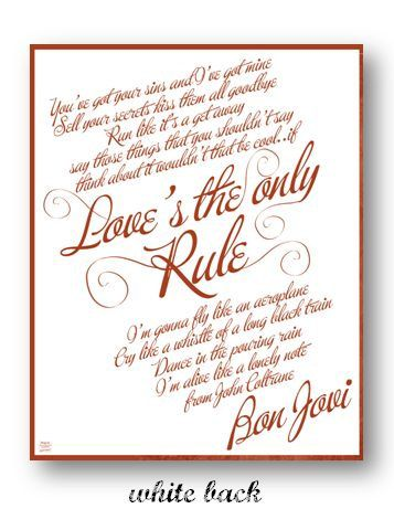 Love S The Only Rule Bon Jovi Digital Image Poster Etsy Bon Jovi Misspelled Words Song Memes