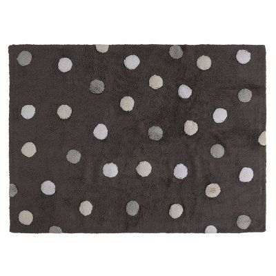 Lorena Canals Tri Color Polka Dot Kids Area Rug Grey White C Tt