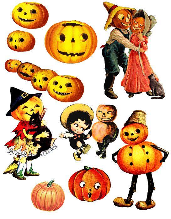 halloween pumpkins jacko lantern vintage clip art digital download rh pinterest co uk free vintage halloween images clip art free vintage halloween clipart
