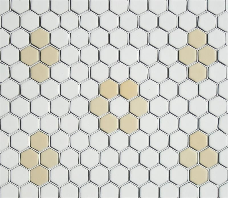 Rosette Quad Hexagon Tile Pattern In White Light Yellow Matte Tile Patterns Porcelain Mosaic Hexagon Mosaic Tile