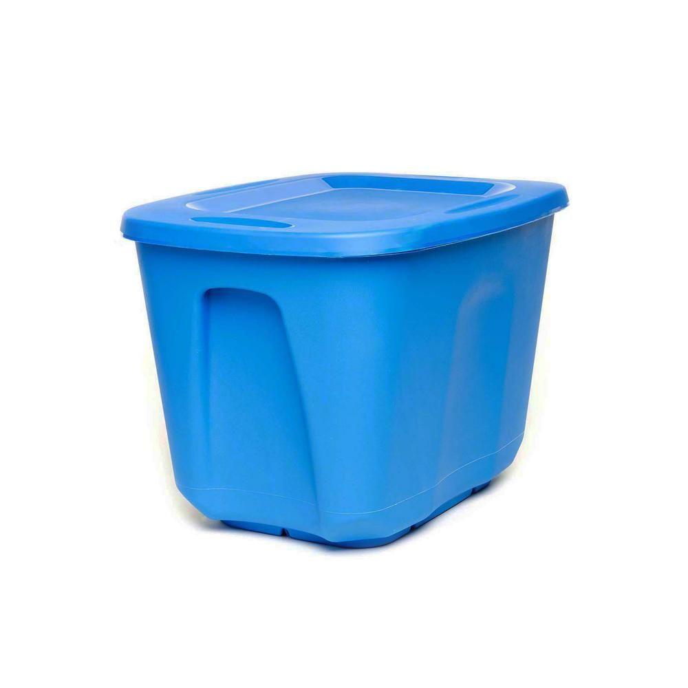 Homz 10 Gal Storage Bin In Blue 5 Pack 6610dwblec 05 Plastic Storage Totes Tote Storage Storage Containers
