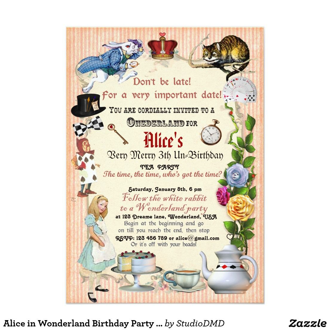 in Wonderland Birthday Party Invitation