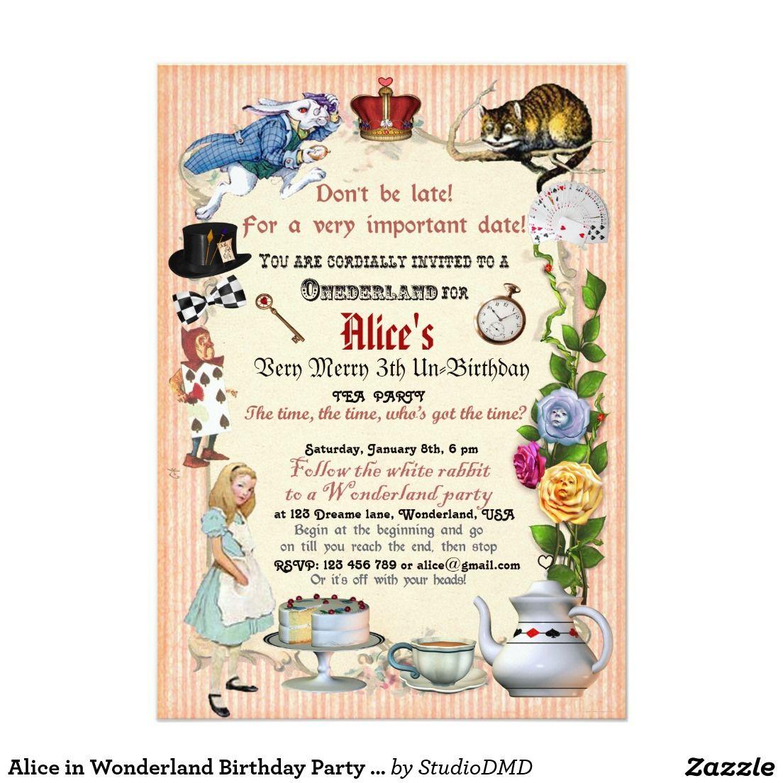 Alice in Wonderland Birthday Party Invitation   Party invitations ...