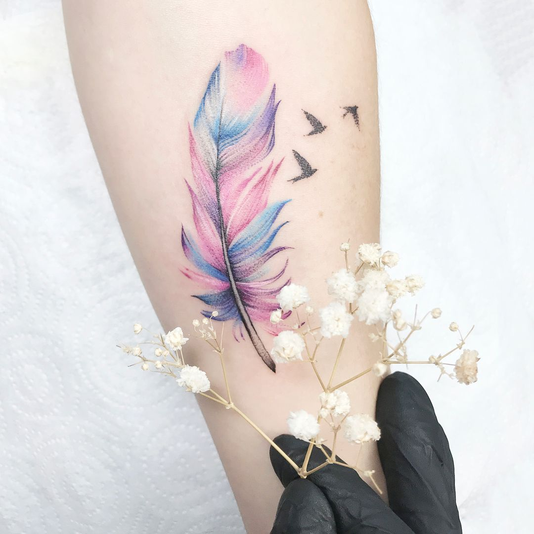 Watercolor Tattoo Pastel Http Viraltattoo Net Watercolor Tattoo Pastel Html In 2020 Feather Tattoo Colour Colour Tattoo For Women Infinity Tattoo With Feather