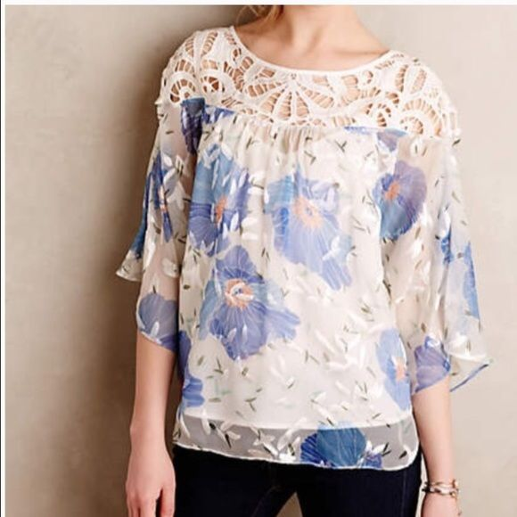"NWT Anthro Boho Peasant Top ""Florafall"" Sz 8 / M • Vanessa Virginia from Anthropologie • ""Florafall"" open knit upper, semi sheer peasant blouse. Loose fit.  • Size 8 / Medium • Silk, Nylon & rayon blend  • New with tags! Orig $138! • White, blue, orange, green, gray  • Bust - 21.5"" across the front, lying flat. Length - 25"" from shoulder to hem.    Suggested User // 700+ Sales // Fast Shipper // Best in Gifts Party Host!  Anthropologie Tops"
