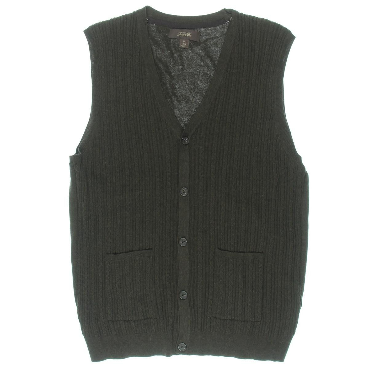 Tasso Elba Mens Cable Knit Button Front Sweater Vest Sweater Vests