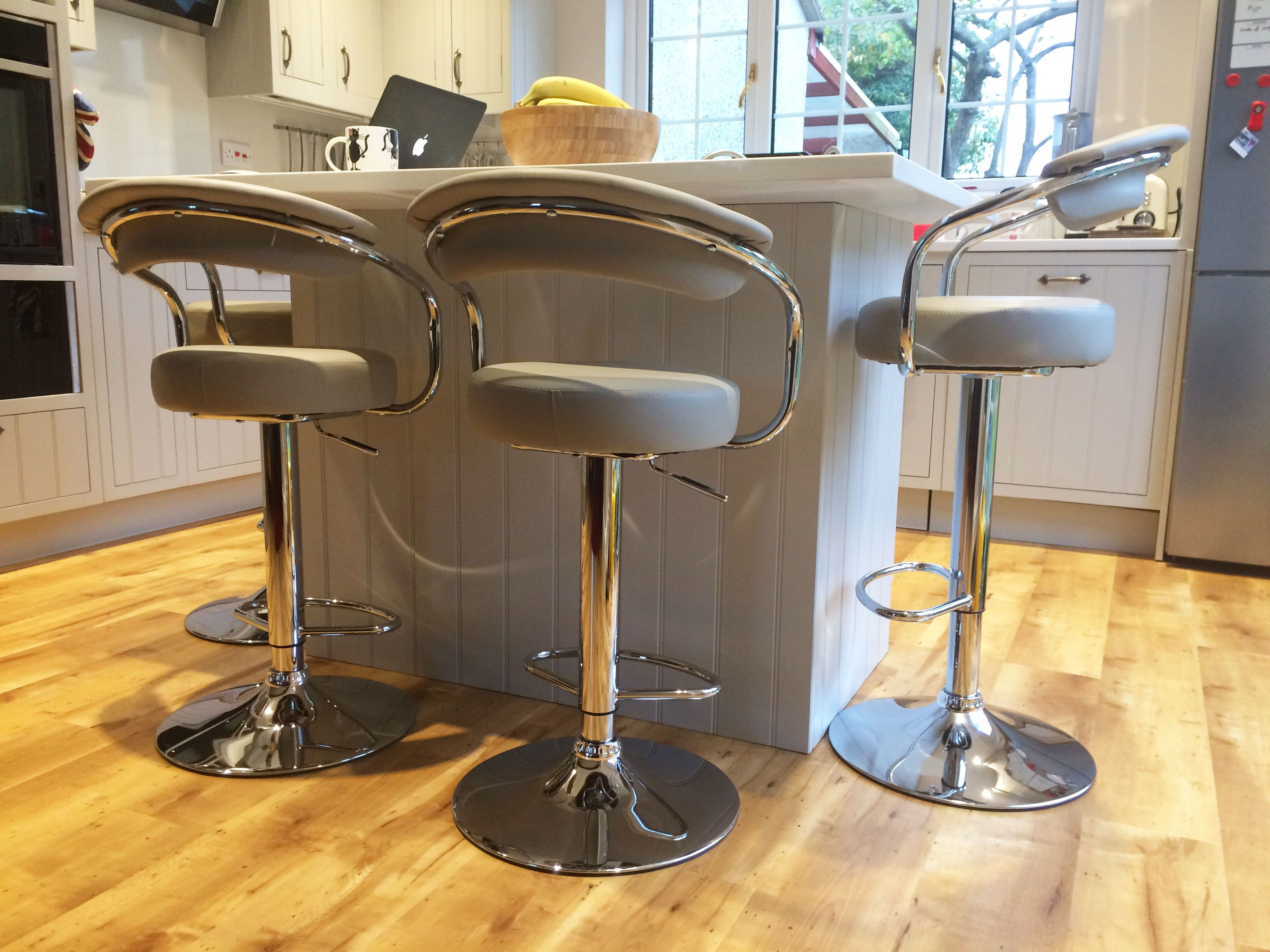 The Zenith Bar Stool Grey Looks Great At This Kitchen Breakfast