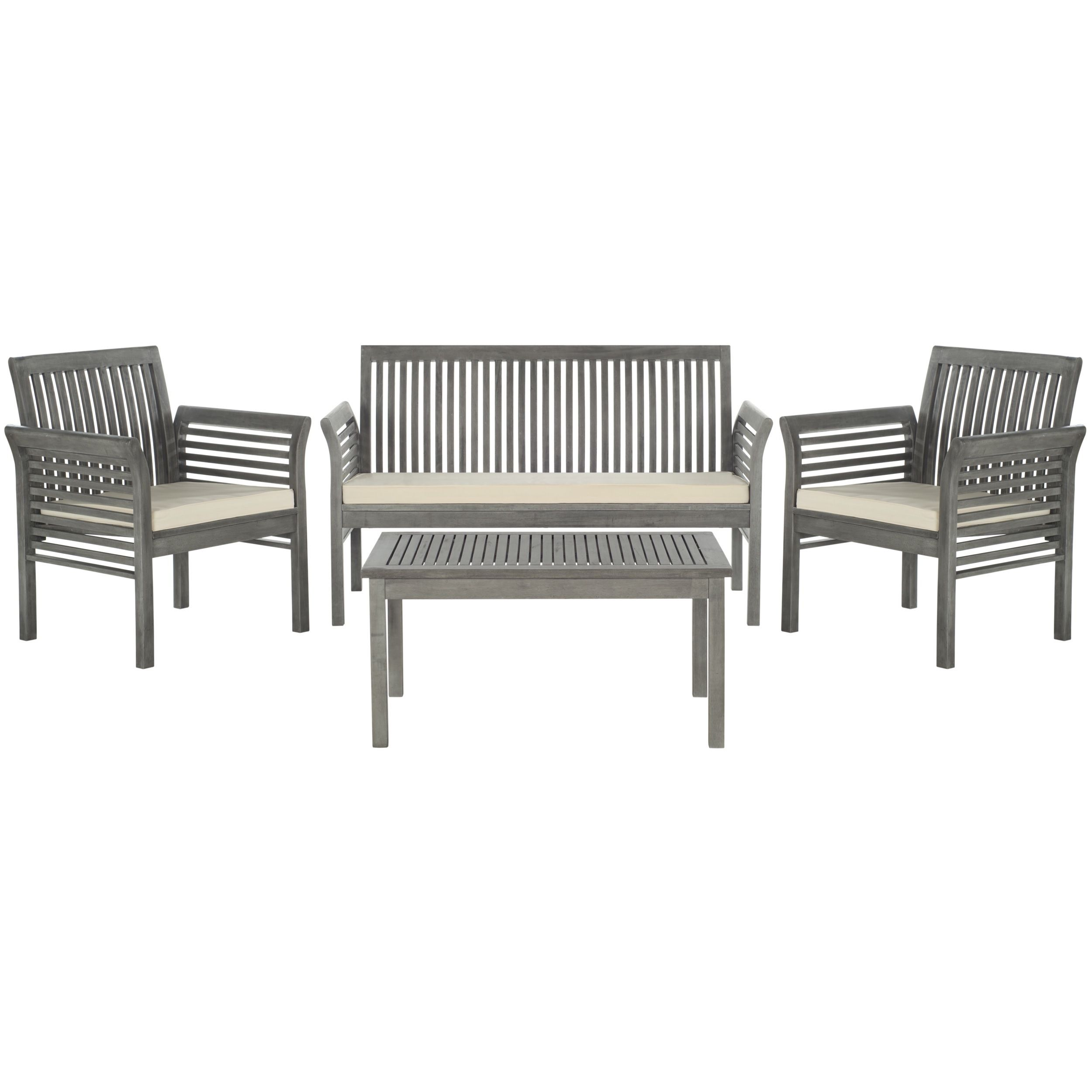 Safavieh Carson Grey Wash Acacia Wood 4 Piece Outdoor Furniture Set |  Overstock.com