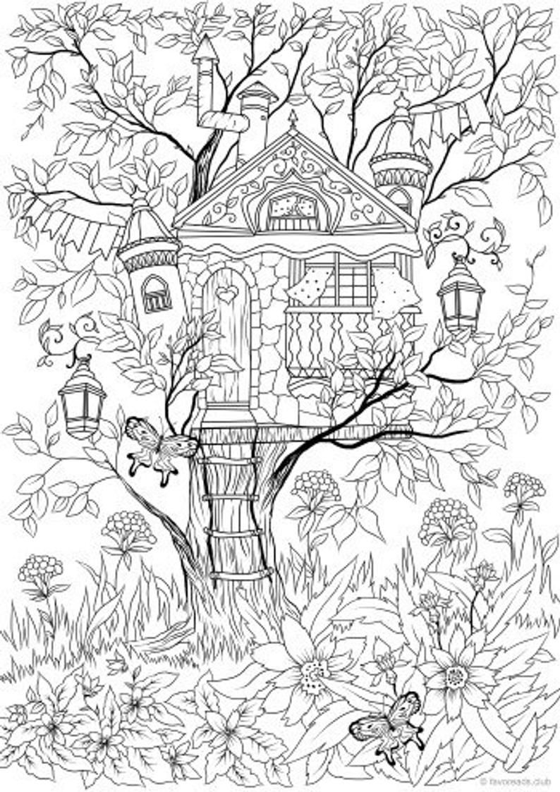 Treehouse Printable Adult Coloring Page From Favoreads Coloring