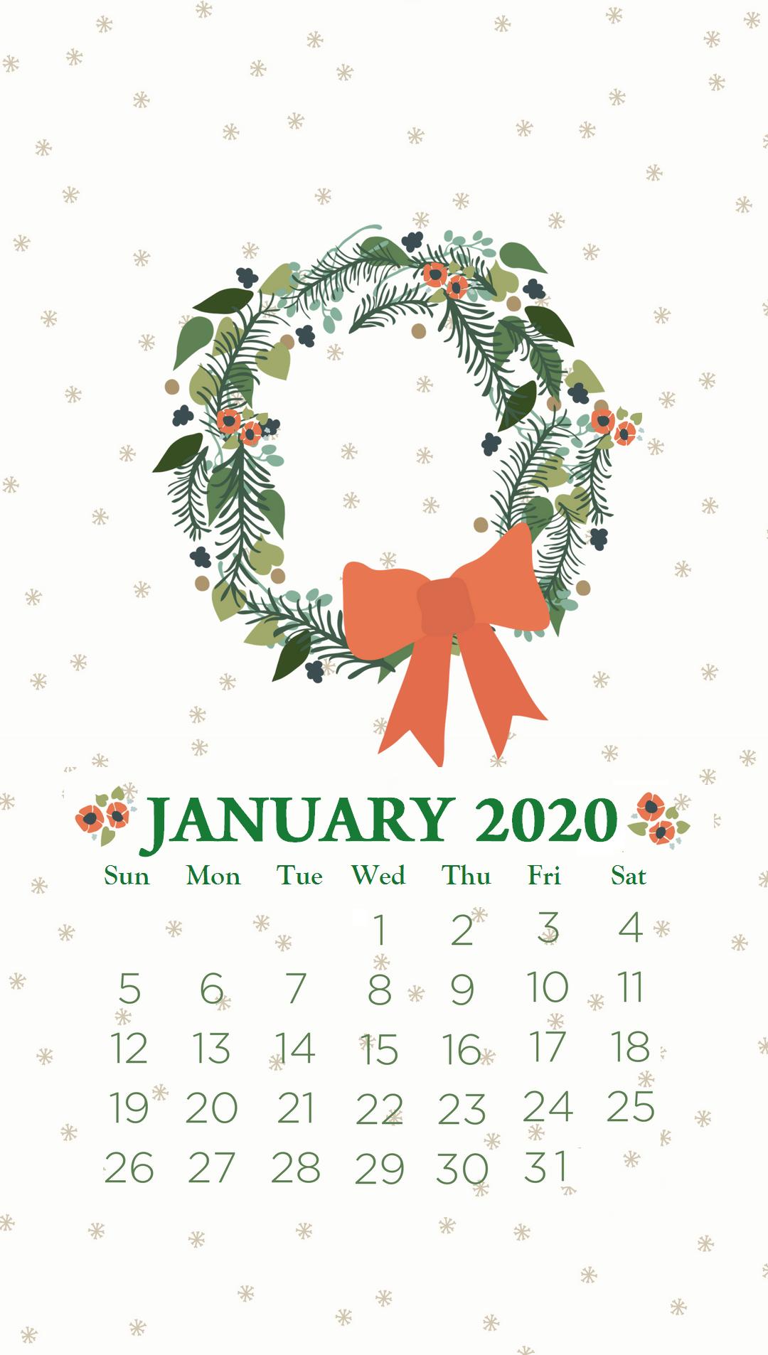 iPhone January 2020 Calendar Wallpaper Рождественские