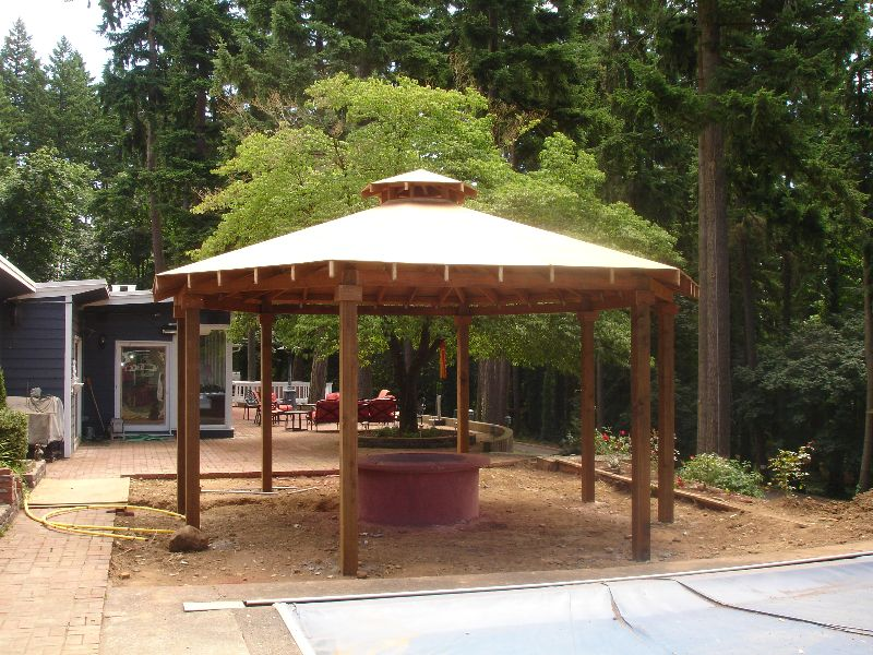 Customer gazebo with fire pit landscaping pinterest for Plans for gazebo with fireplace