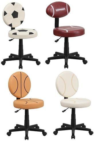 Armless Vinyl Sports Desk Task Chairs Soccer Baseball Football Basketball