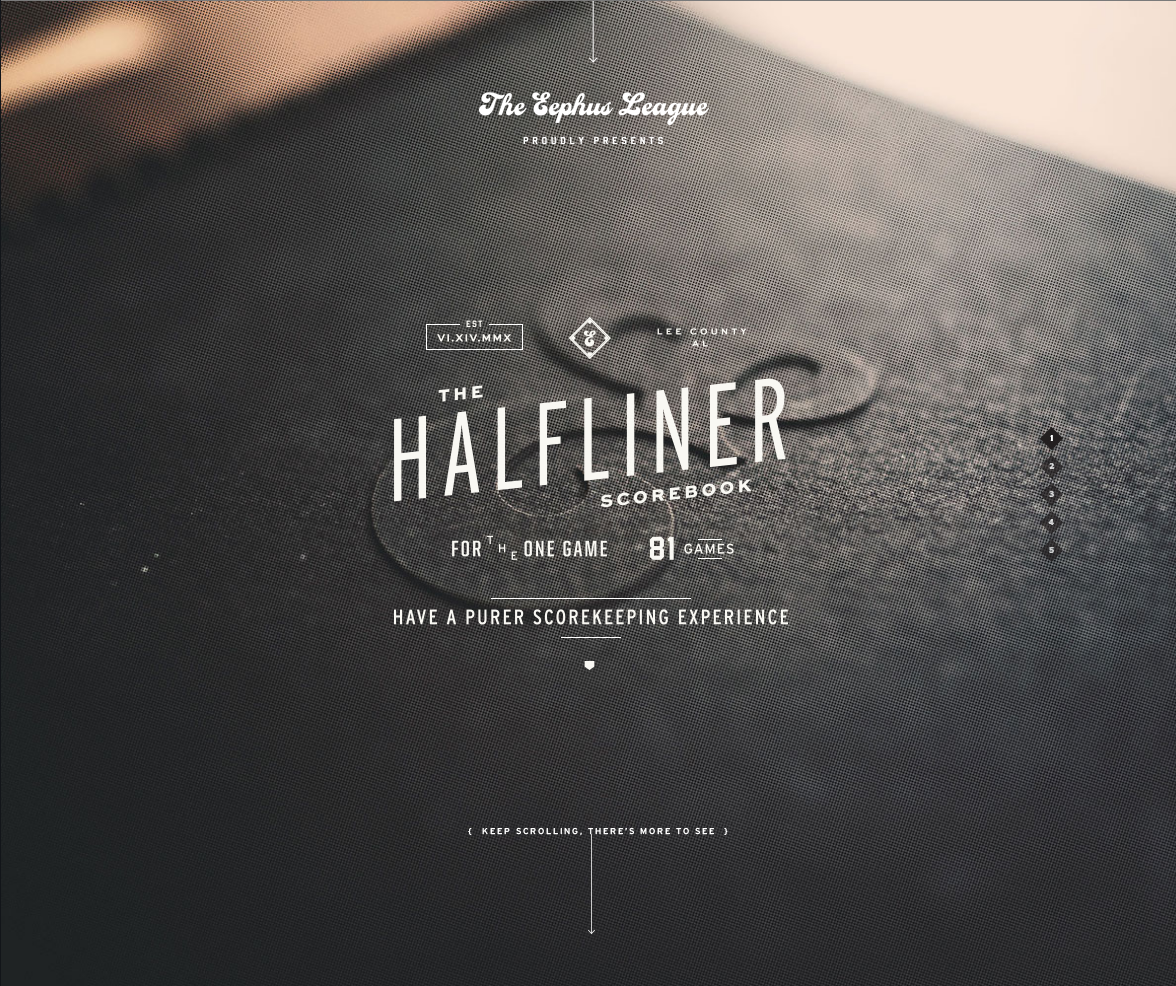 Example of Creative Single Page Website http://eephusleague.com/halfliner/