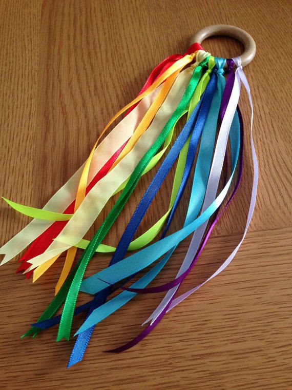 Personalised Handmade Montessori Rainbow Ribbon Sensory Hand Kite Wind Wand