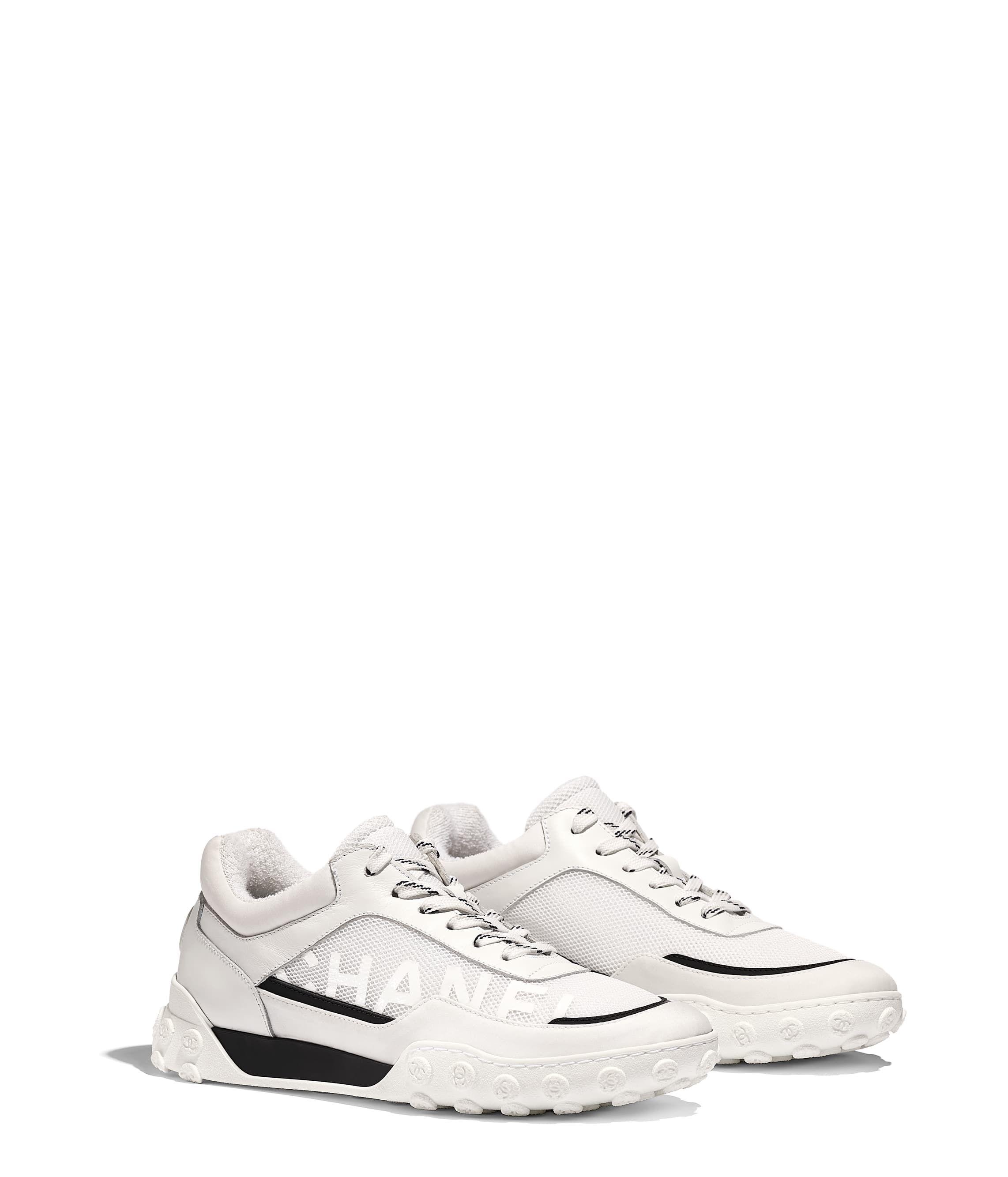 b5e198dace Sneakers, calfskin, mesh & lycra, white - CHANEL   Casual Shoes ...