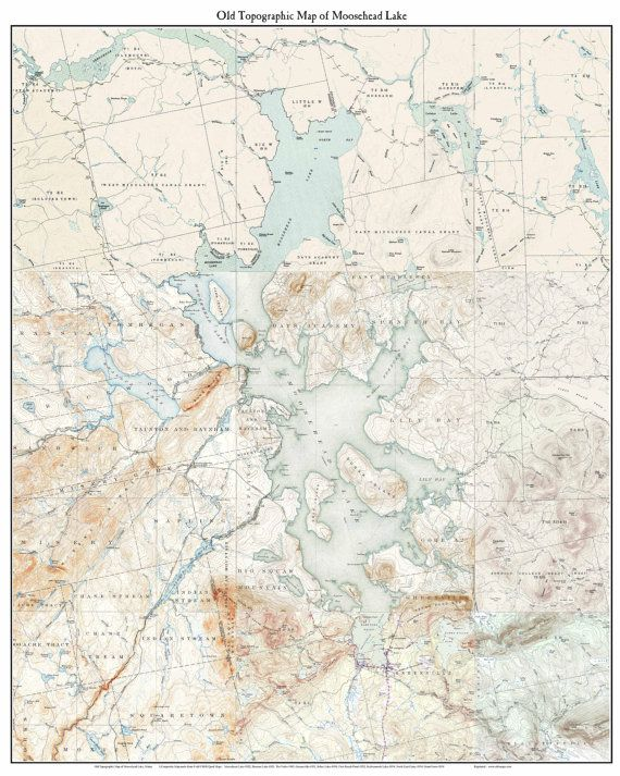 Map Of Maine Lakes.Moosehead Lake Ca 1922 1954 Old Topographic Map Usgs Maine Lakes