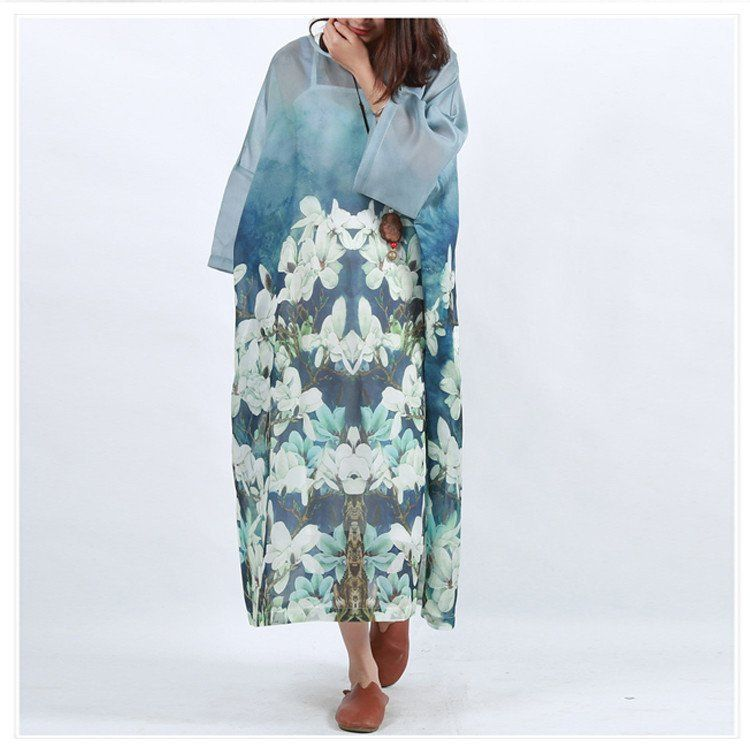 Women cotton linen printing bat sleeve dress
