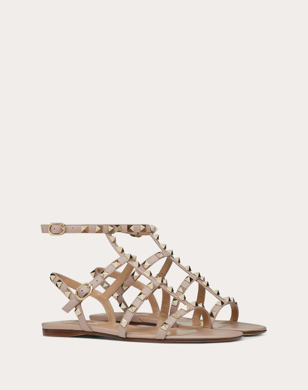 Rockstud Calfskin Ankle Strap Flat