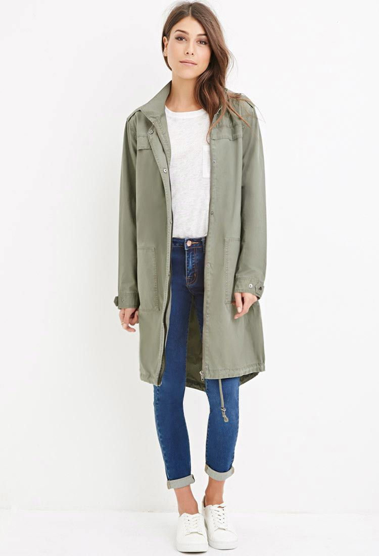 Contemporary Longline Hooded Utility Jacket | Forever 21 Canada | Was CAD  $51.90 Now CAD $24.99