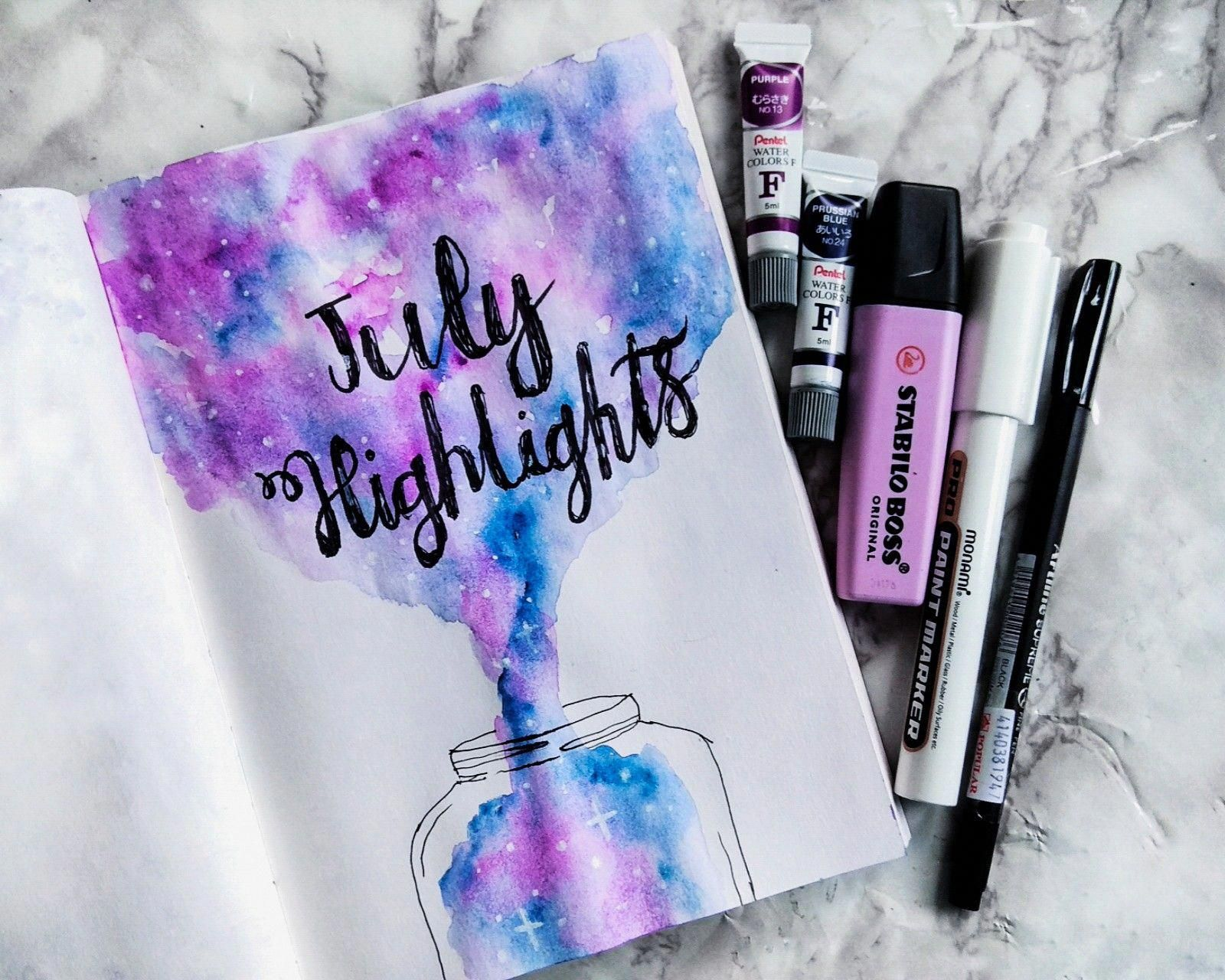 July Highlights July Bullet Journal Ideas Watercolor Galaxy Theme