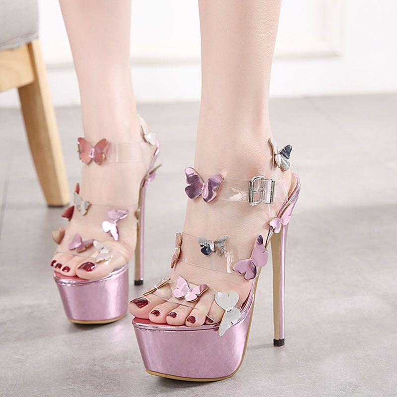 Shoespie Summer Girls Cute Thin Butterfly Platform Heels