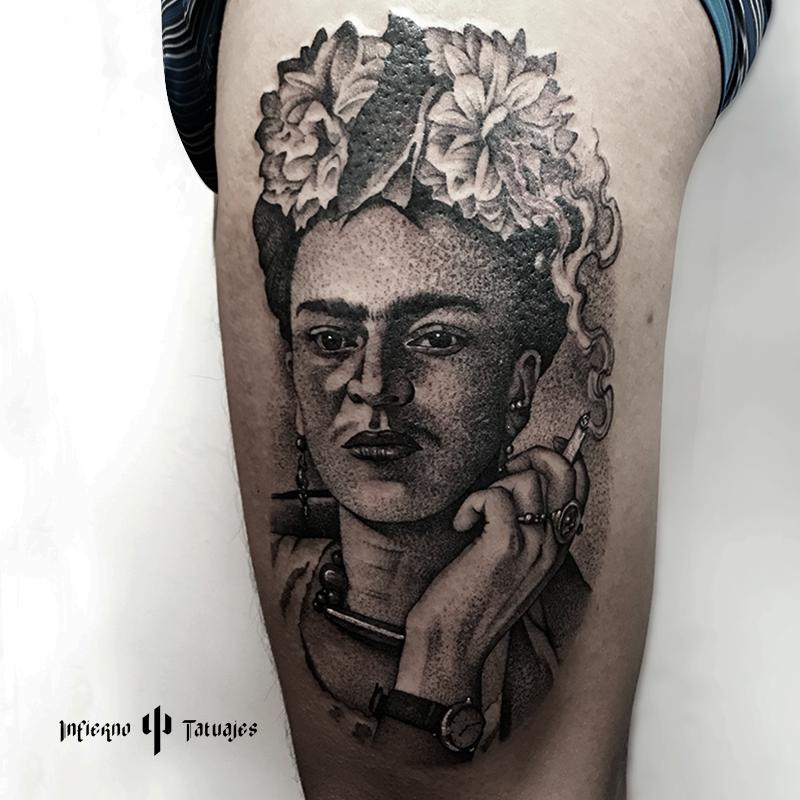 Tatuaje Frida Kahlo Tattoo Realista Mexicano Tatuaje Tattoo