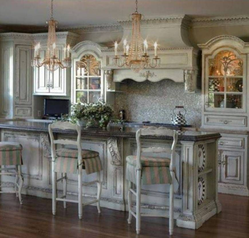 Victorian Style Kitchens With Double Crystal Chandelier