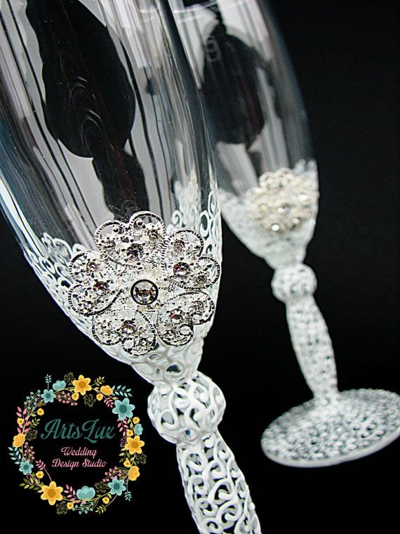 Wedding champagne glasses with brooch hand by ArtsLux on Etsy