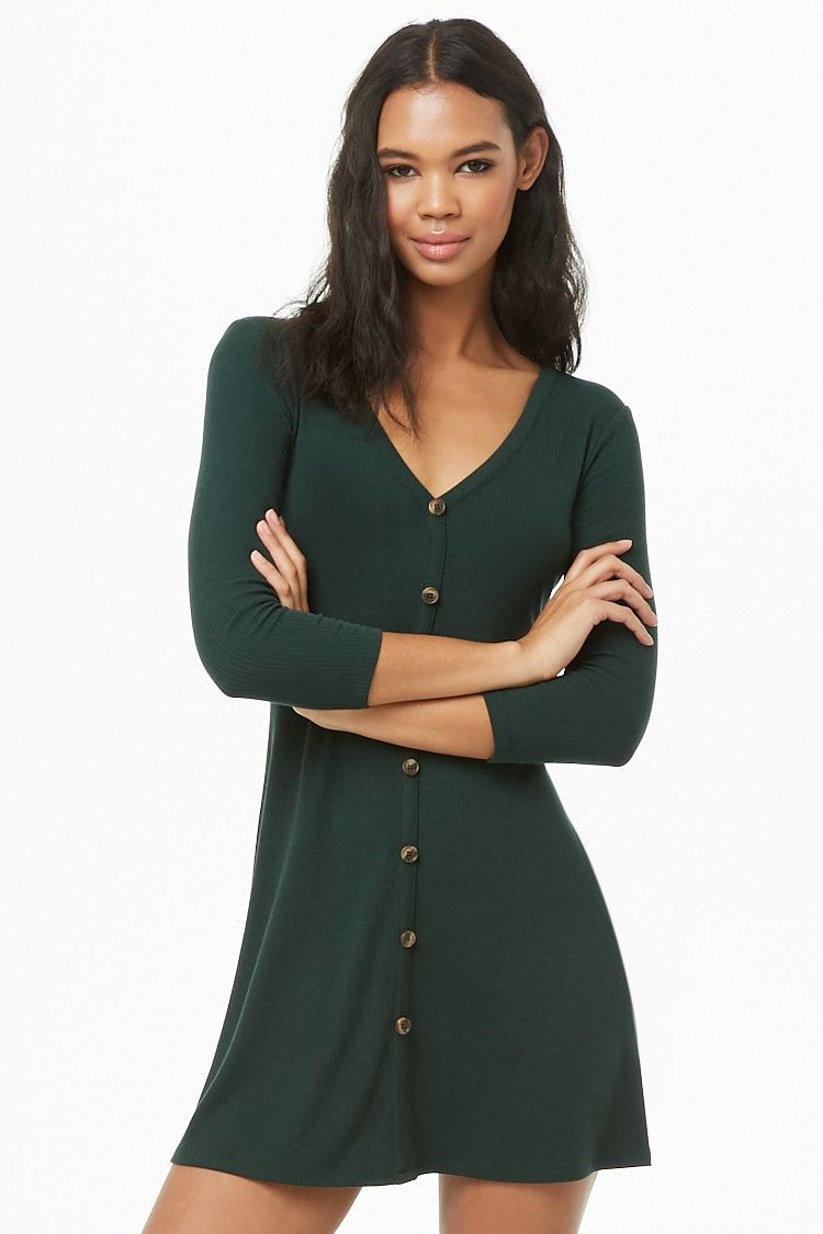 4e1cfe11ab7 Button Ribbed A-Line Dress in 2019