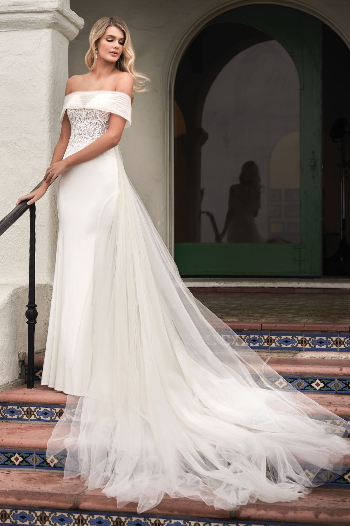 F211052 embroidered lace stretch crepe wedding dress