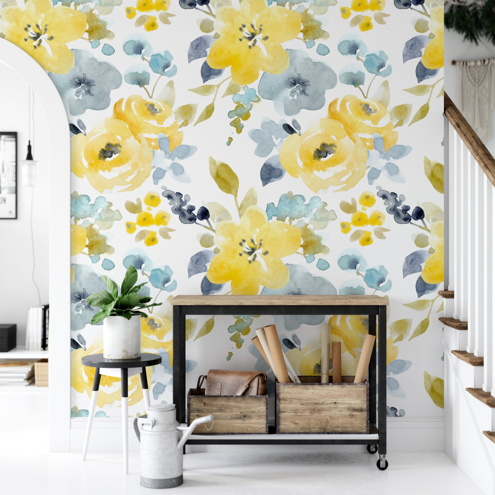 Watercolor Yellow Floral Removable Wallpaper, Peel and