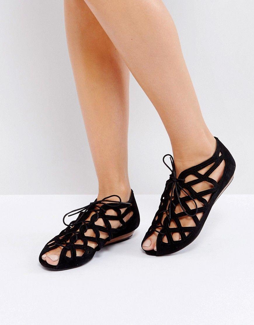 2e96ba124532 Office Leather Cutout Flat Sandals - Black