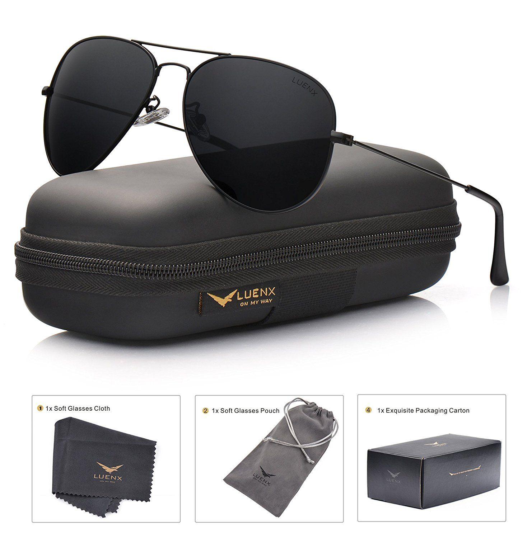 db4f4a01c8 👉🏻👉🏻Click on the PHOTO to BUY 👈🏻👈🏻 LUENX Aviator Sunglasses  Polarized Mens Womens Black Lens Black Metal Frame 60mm