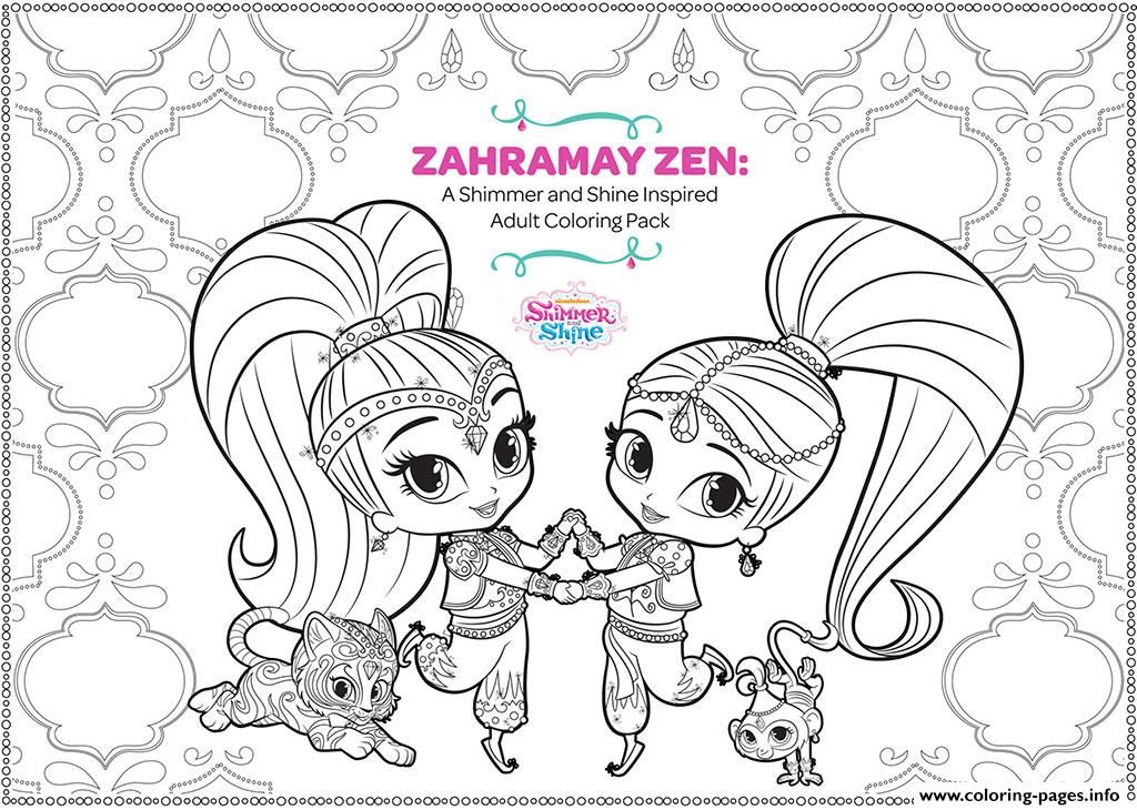 Zahramay Zen Shimmer And Shine Adult Coloring Pages Printable Book To Print For Free Find More Online Kids