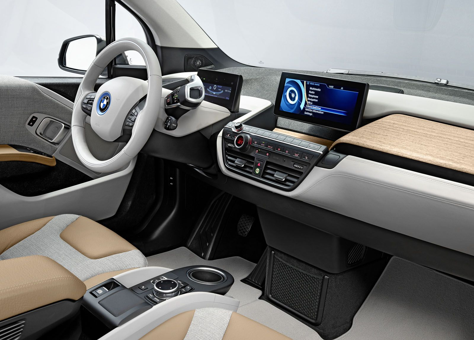 Wood Interior Car interior of the all-electric bmw i3. the eucalyptus wood ages with
