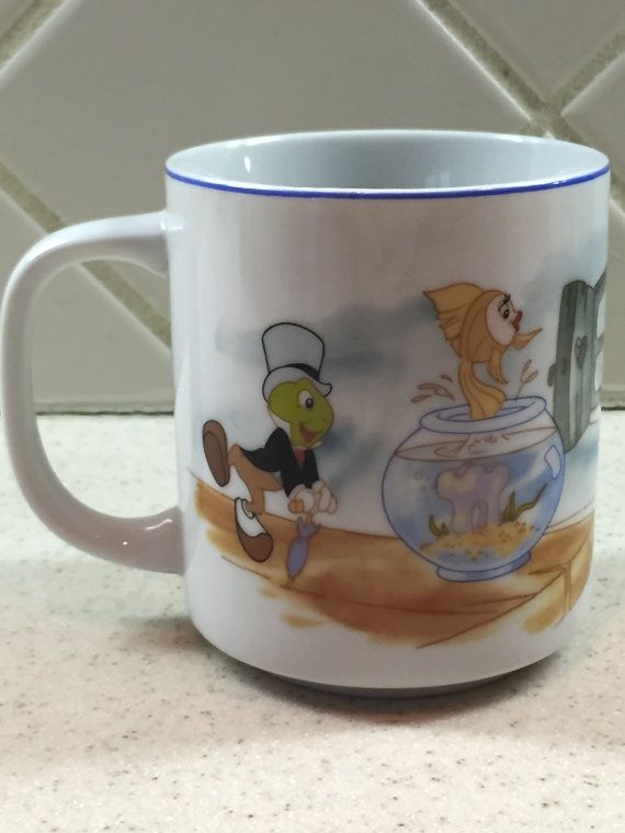 Vintage Disney Pinocchio Coffee Mug Jiminy By Samanthasunshineshop Disney Coffee Mugs Mugs Vintage Disney