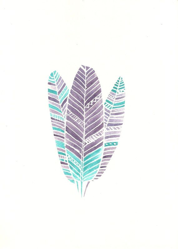 Purple And Teal Turquoise Boho Feather By