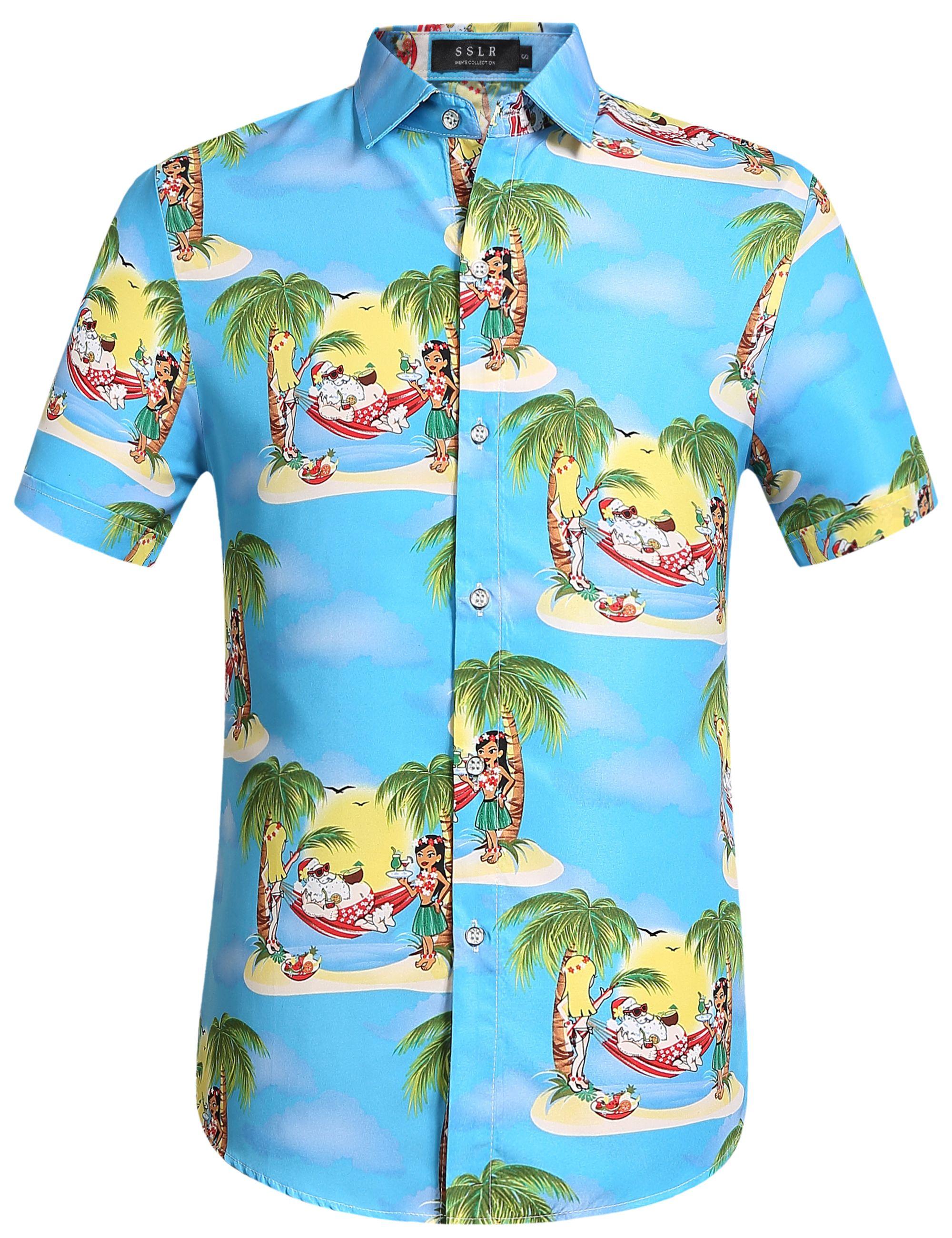 Christmas Hawaiian Shirts.Pure Blue Hawaiian Shirt With Christmas Santa Claus Holiday