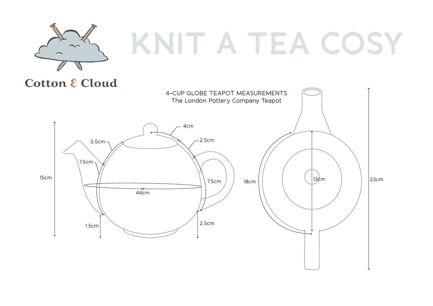 4cup Teapot Dimensions Tea pots, Knitting for charity