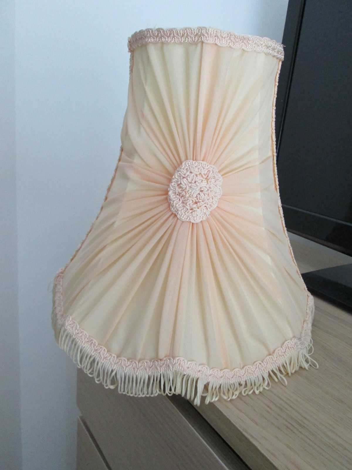 Vintage French Chiffon Pleated Lampshade Pale Yellow Pink Hue Shabby Chic In Home Furniture Diy Lighting Lampshades Lightshades Ebay